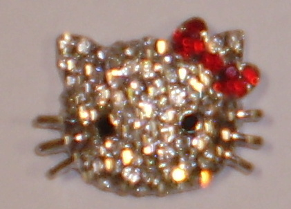 Kitty con strass 22mm (pasante 2.5)